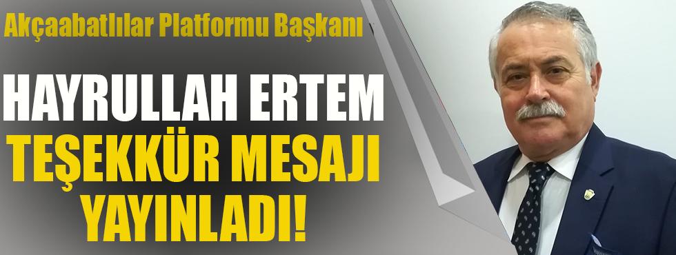 Akçaabatlılar Platformu Başkanı Hayrullah Ertem Teşekkür Etti!