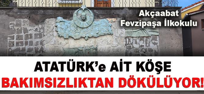 Akçaabat Fevzipaşa İlkokulu Bahçesinde Atatürk'e Ait Köşe Bakımsızlıktan Dökülüyor!