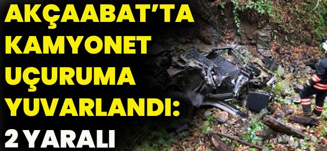 Akçaabat'ta Kamyonet Uçuruma Yuvarlandı: 2 Yaralı