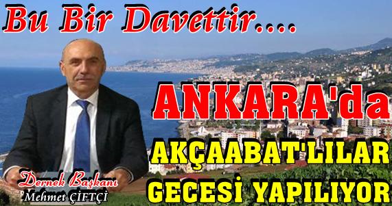 Akçaabat'lılar Ankara'daki Gecede Buluşuyor