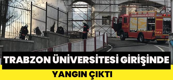 Trabzon Üniversitesi Girişinde Yangın Çıktı