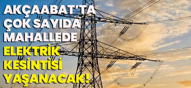 Akçaabat'ta Çok Sayıda Mahallede Elektrik Kesintisi Yaşanacak!
