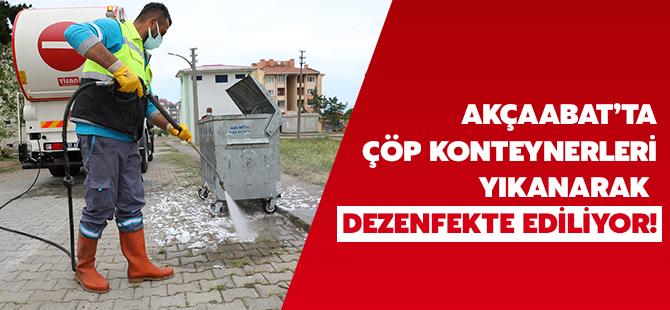 Akçaabat'ta Çöp Konteynerleri Yıkanarak Dezenfekte Ediliyor!