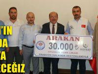 Başkan Gümrükçüoğlu, Arakan İçin Yardım Çekini Teslim Etti