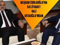 Başkan Zorluoğlu'na İlk Ziyaret Vali Ustaoğlu'ndan