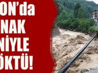 Trabzon'da Sağanak Nedeniyle Yol Çöktü