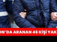 Trabzon'da Aranan 46 Kişi Yakalandı